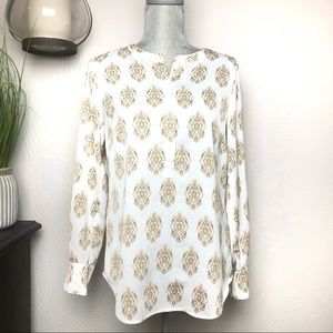 J.Crew I White and Gold Blouse